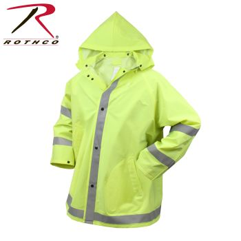 3655 Rothco Reflective Rain Jacket-Safety Green