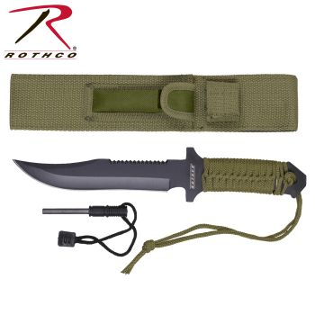 Rothco 7 Inch Paracord Knife with Fire Starter-