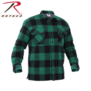 Rothco Buffalo Plaid Sherpa Lined Jacket - Green