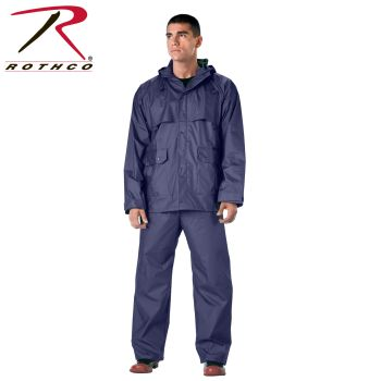 3871 Rothco 2-Pc Pvc Coated Nylon Rainsuit-Navy