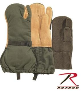 Used G.I. Surplus Leather Trigger Finger Mittens w/ Liner-