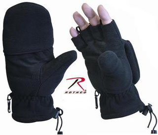 Black Fleece Sniper Fingerless Gloves/Mittens