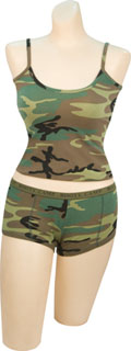 Women&#8216;s Woodland &#8216;&#8216;booty Camp&#8216;&#8216; Booty Shorts And <br> Women&#8216;s Woodland Tank Top