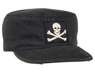 Rothco Vintage Military Fatigue Cap With Jolly Roger-Rothco