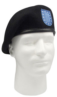 'Inspection Ready'' Black Beret w/Flash-Rothco