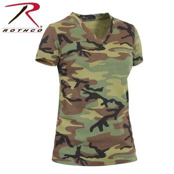 Rothco Womens Long Length Camo V-Neck T-Shirt-