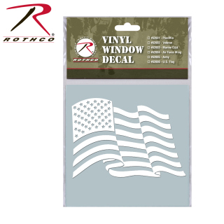 Rothco White Vinyl Window Decal - U.S. Flag