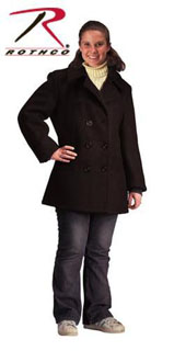 Rothco Womens Navy Type Black Wool Peacoat-Rothco