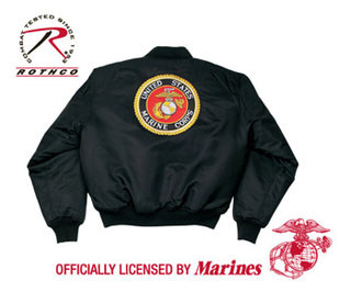 7461 Rothco Ma-1 Flight Jacket / Marine Emblem - Black