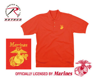 Red Marines Golf Shirt w/Gold Embroidery