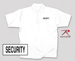 7794 White Security Printed Golf Shirt