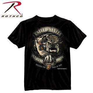 Black Ink U.S.M.C. Bulldog T-Shirt-