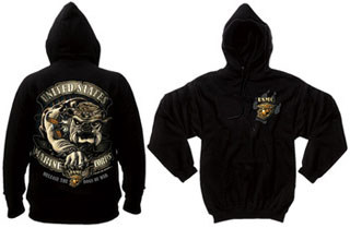 Black Ink U.S.M.C. Bulldog Hooded Pullover Sweatshirt-