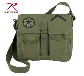 Rothco Canvas Ammo Shoulder Bag w/ Military Patches-