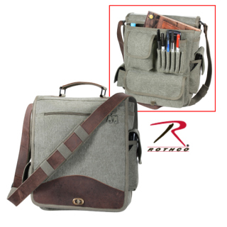 Rothco Vintage Canvas M-51 Engineers Bag - Olive Drab With Leather Accents-Rothco