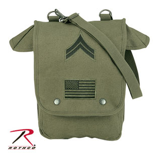 Rothco Canvas Map Case Shoulder Bag w/ Military Patches-Rothco