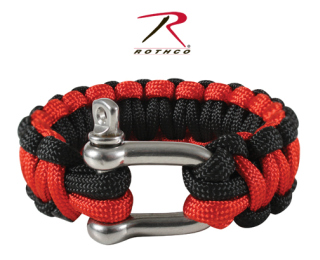 Rothco Thin Red Line Paracord Bracelet With D-Shackle-Rothco