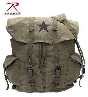 9158_Rothco Vintage Weekender Canvas Backpack with Star-