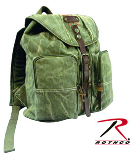 Rothco Stone Washed Canvas Backpack w/ Leather Accents-Rothco