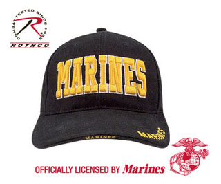Deluxe Black Low Profile Cap - W/gold Marines