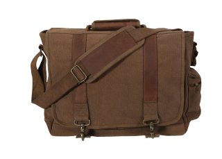 Rothco Vintage Canvas Pathfinder Laptop Bag With Leather Accents-