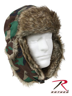 Fur Flyer's Hat - Woodland Camo