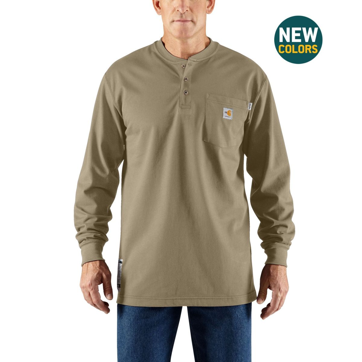 Mens Flame-Resistant Force Cotton Long Sleeve Henley-