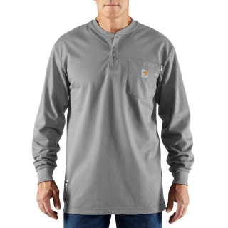 Mens Flame-Resistant Force Cotton Long Sleeve Henley-Carhartt