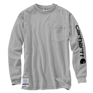 Mens Flame-Resistant Force Cotton Graphic Long Sleeve T Shirt-Carhartt