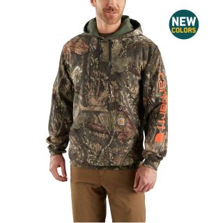 Mens Midweight Camo Sleeve Logo Hooded Sweatshirtrt-