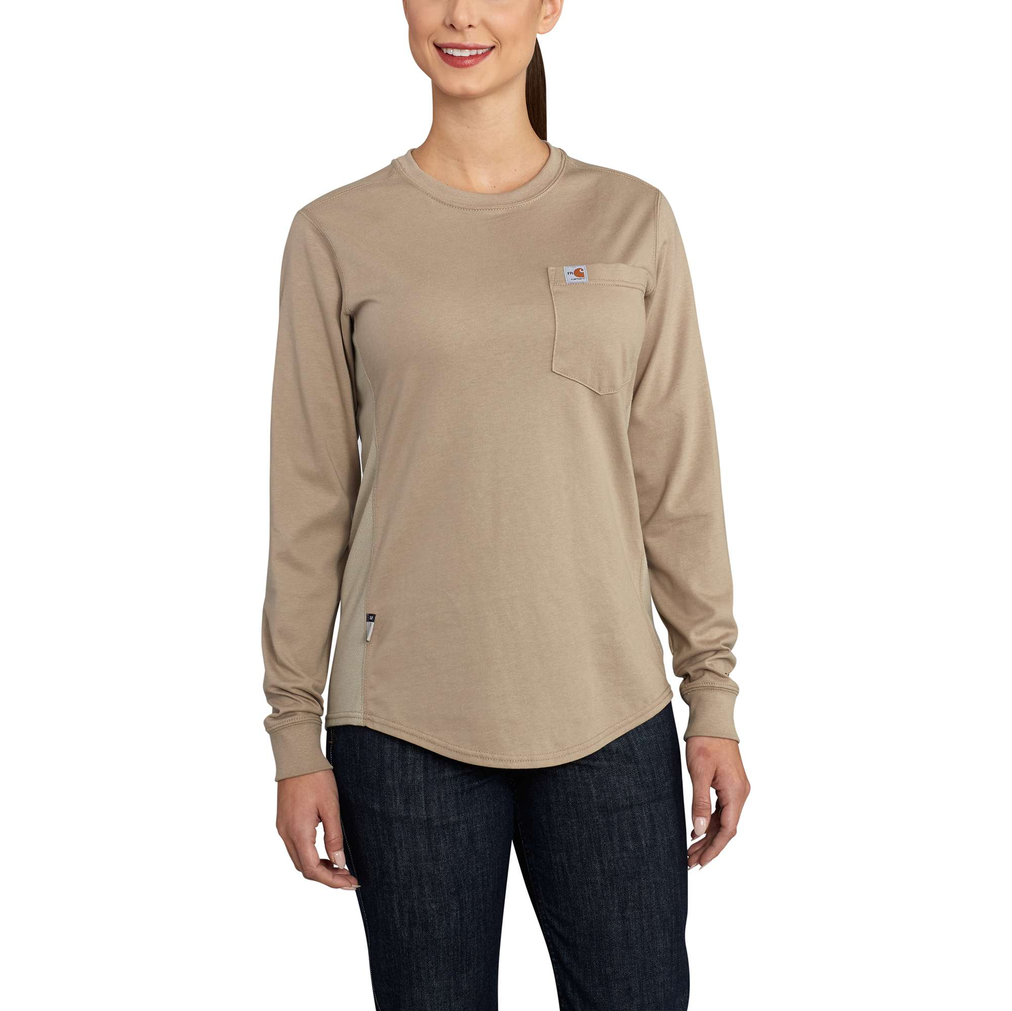 0a4a50dc4434 Womens Flame-Resistant Womens Force Cotton Long Sleeve Crew T Shirt-Carhartt