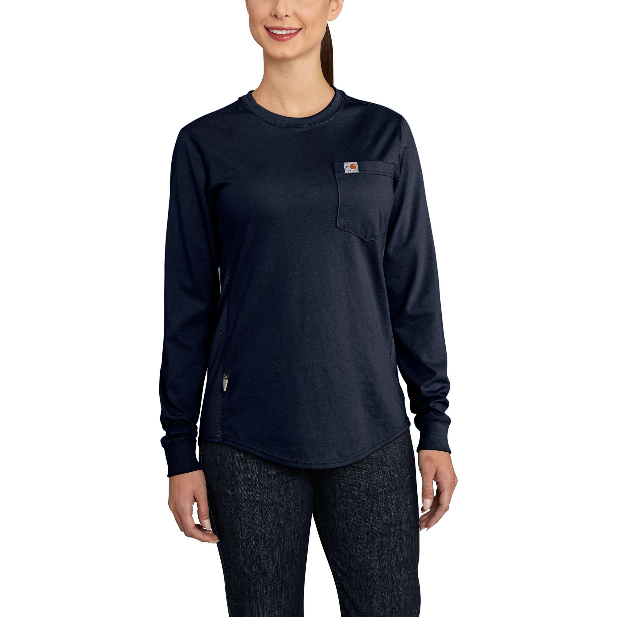 Womens Flame-Resistant Womens Force Cotton Long Sleeve Crew T Shirt-Carhartt