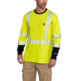 Mens Flame-Resistant High Vis Force Long Sleeve T Shirt-