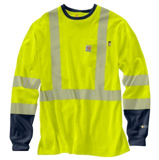 Mens Flame-Resistant High Vis Force Long Sleeve T Shirt-Carhartt