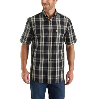 Mens Essential Plaid Button Down Short Sleeve Shirt-Carhartt