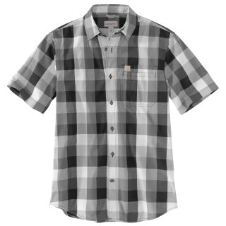 Mens Essential Plaid Open Collar Short Sleeve Shirt-