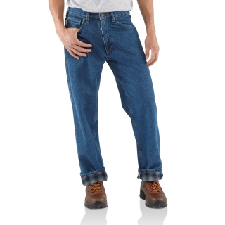 Mens Relaxed Fit Straight Leg Flannel Lined-Carhartt