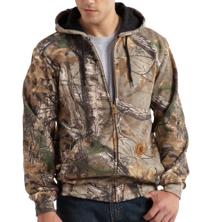 Mens Midweight Camo Hooded Zip Front Sweatshirt-