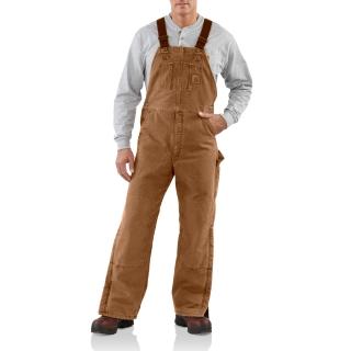 Mens Quilt Lined Sandstone Bib Overalls-Carhartt