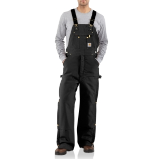 Mens Quilt Lined Zip To Thigh Bib Overalls-