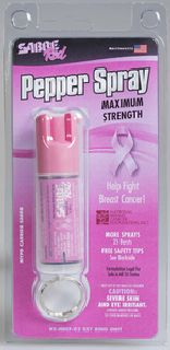 Pink Pepper Spray Keychain (0.54 oz/aprox. 25 shots) by SABRE Red - Help Support the National Breast Cancer Foundation-Sabre