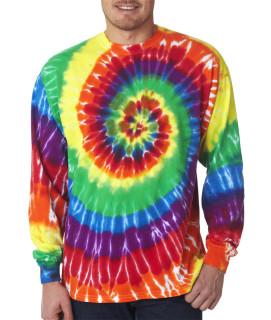 Gildan Tie-Dye Adult Rainbow Spiral Long-Sleeve Tee