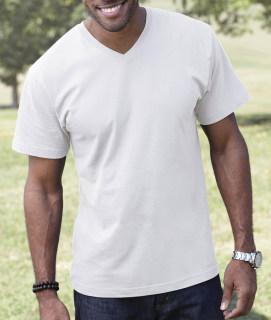 LA T Adult Fine Jersey V-Neck T-Shirt