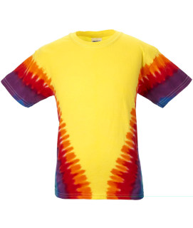 tie dye Youth Tie-Dyed Flourescent Swirl and Vee Rainbow Cotton Tee