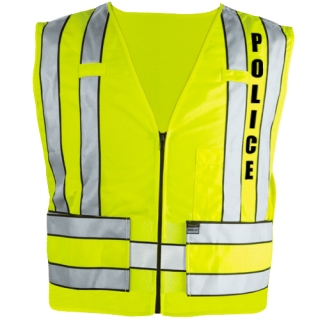 343p Zip-Front Breakaway Safety Vest W/ Police Logo-Blauer