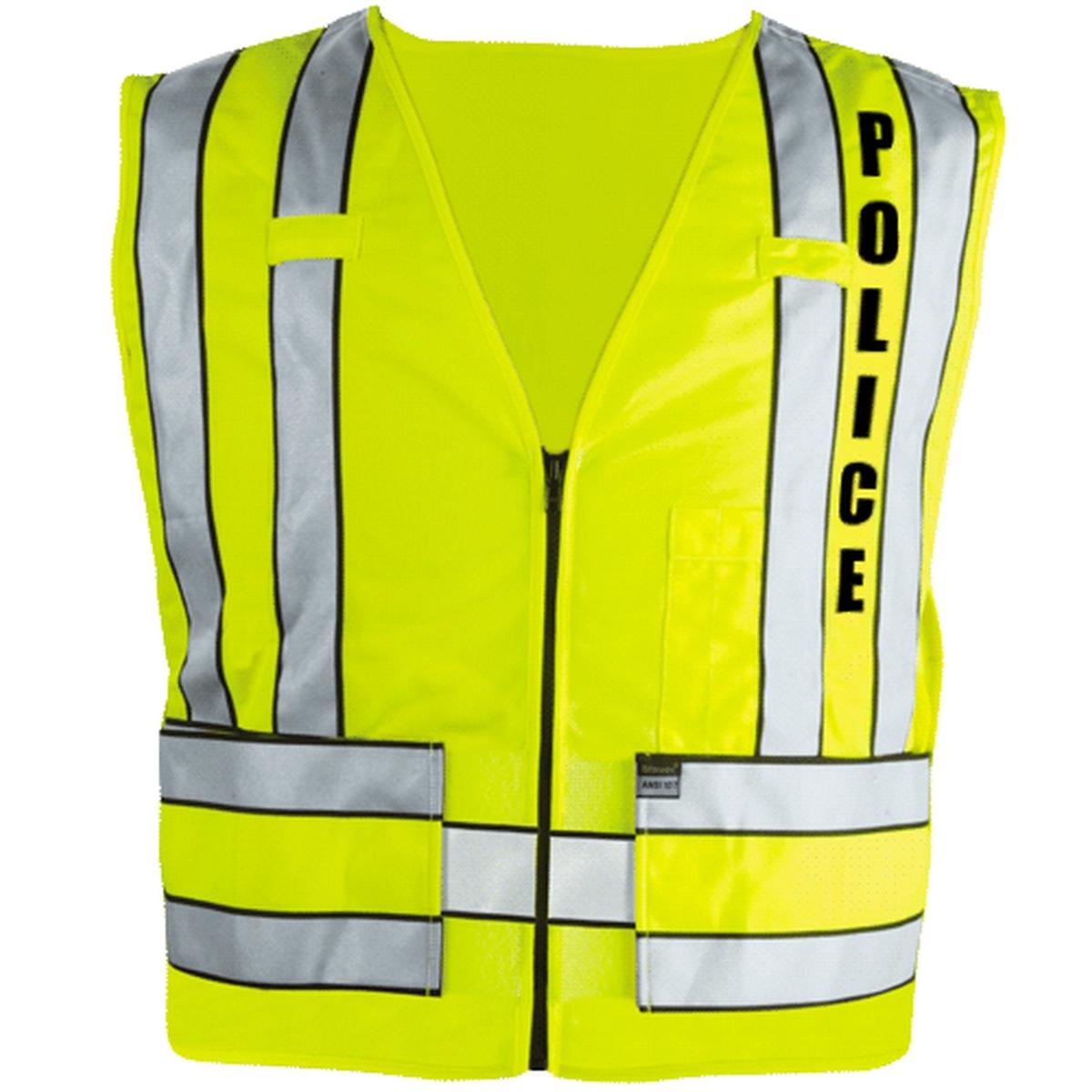 343P Zip-Front Breakaway Safety Vest w/ POLICE Logo-DGGUA