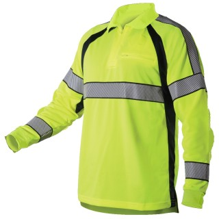 Long Sleeve Hi-Vis Polo Shirt-Blauer