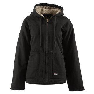 Ladies Washed Hooded Coat - Fine Sherpa Lined