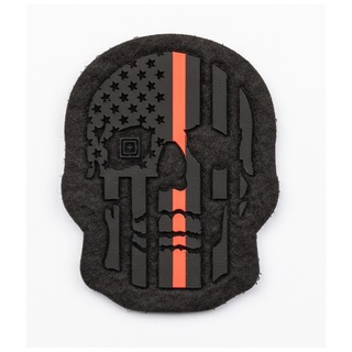 5.11 Tactical Painted Thin Red Line Skull Patch-5.11 Tactical