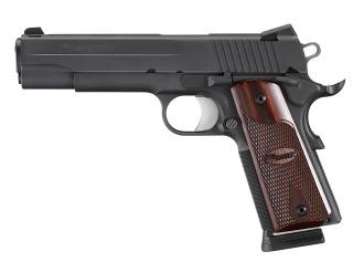 1911, .45 ACP, Pistol, Full size, 5in bbl, Nitron, BLK, SAO, SIGLITE, Burled Maple Grip, (3) 8rd Steel Mag, Beavertail